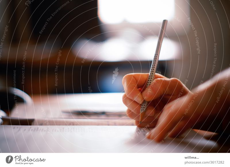 writing stuff by hand pen Pencil Write office Calculation Study School Further training Tax office typist fill Form (document) Request Academic studies