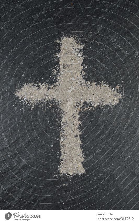 Ash cross on Ash Wednesday on slate slab | Symmetry Crucifix ash religion religious Christian Christianity Belief symbol symbolic Sign Transience Death