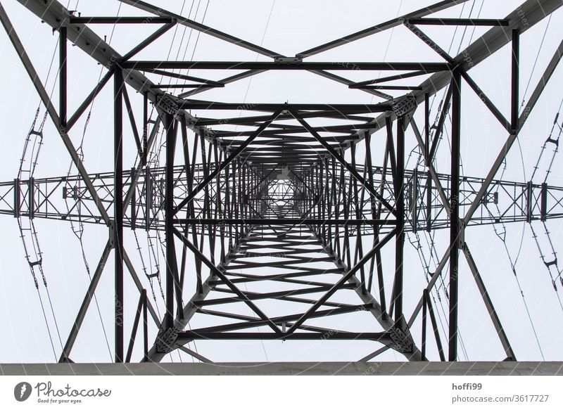 Power pole viewed from bottom to top electricity High voltage power line Transmission lines Electricity pylon Energy industry Overhead line Power transmission