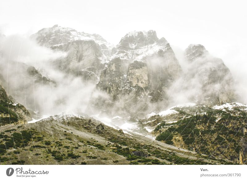 Sky Nature Vacation & Travel Landscape Clouds Cold Mountain Snow Rock Fog Hiking Bushes Tall Hill Alps Snowcapped peak