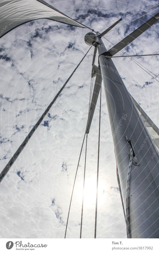 the blue yonder Sailing Pole Sky Clouds Sailboat Deserted Exterior shot Vacation & Travel Ocean Water Adventure Freedom Wind Yacht Day Sailing ship Navigation