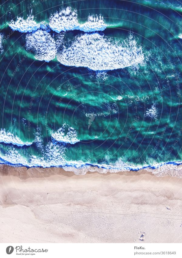 Bird's eye view of the North Sea at Hvide Sande in Denmark Waves Coast Ocean Water Beach Colour photo Nature Summer Far-off places Bird's-eye view UAV view