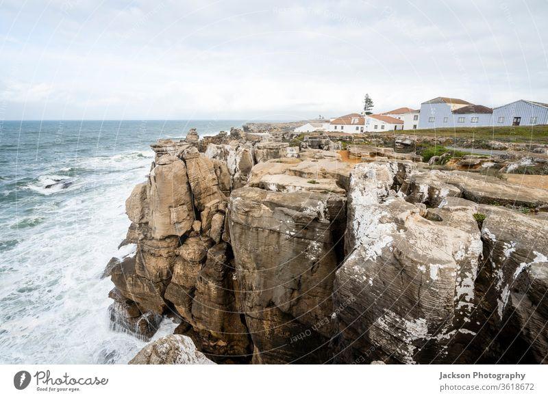 High cliffs on Peniche peninsula, Portugal portugal peniche ocean nature architecture steep geological overcast lighthouse leiria skyline