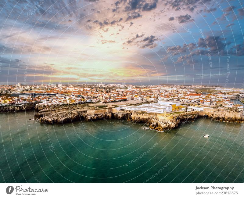 Aerial view of Peniche with the fortress, Portugal urban cityscape City peniche Landmark Antenna Fortress Above Castle Citadel History of the Monument built