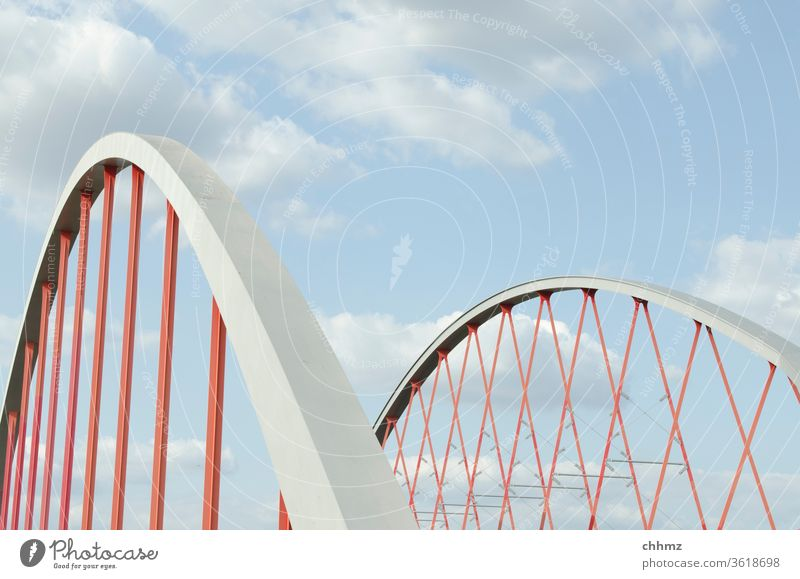 bridge Sky Blue Clouds Carrier Wire cable Infrastructure Architecture Steel Construction Rope Red Metal Steel carrier Exterior shot Transport Street Iron