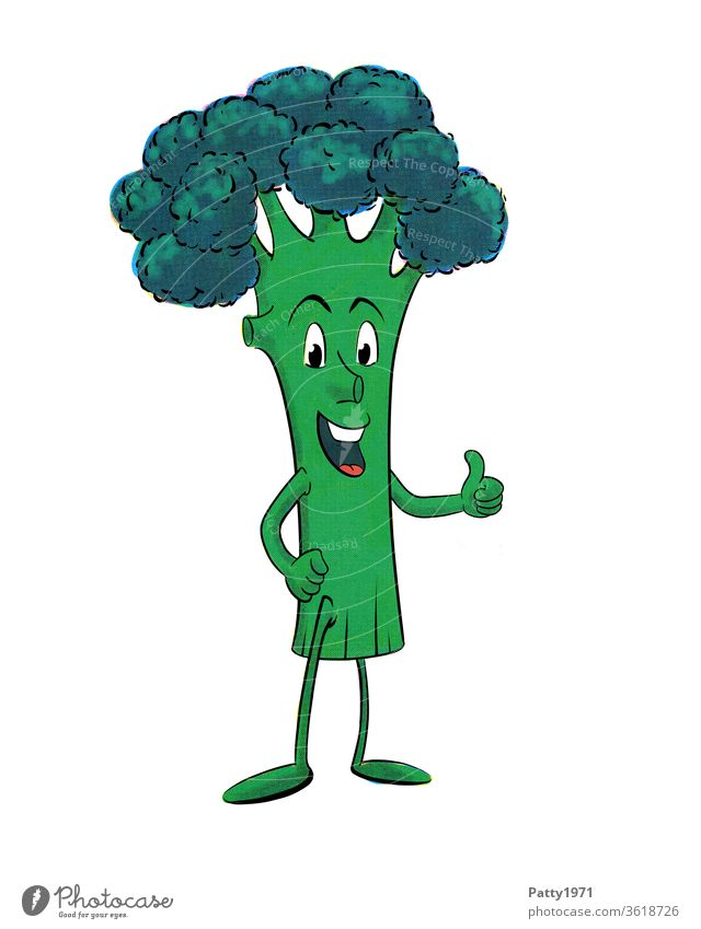 Funny, laughing cartoon broccoli figure, isolated in front of a white background, thumbs up Broccoli Vegetable green Cartoon Comic Isolated Image Illustration