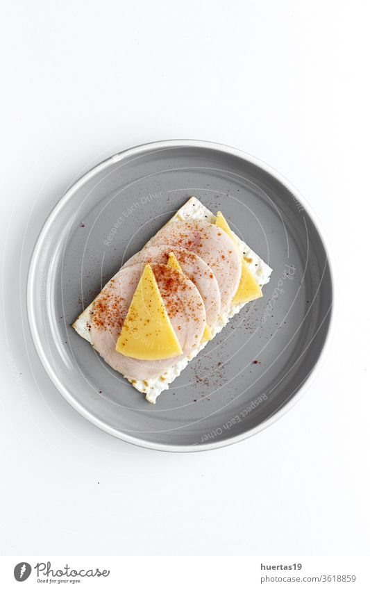 Salty crackers with sausage chicken, cheese and paprika from above snack food cuisine spread meal cream delicious breakfast homemade healthy healthy food fresh