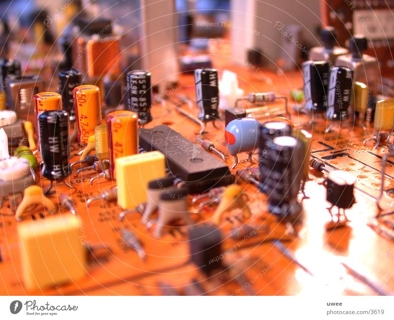 Perspective Electricity Technology Part Brick Circuit board Electronics Passenger train Electrical equipment Transistor Condenser Refrigeration unit
