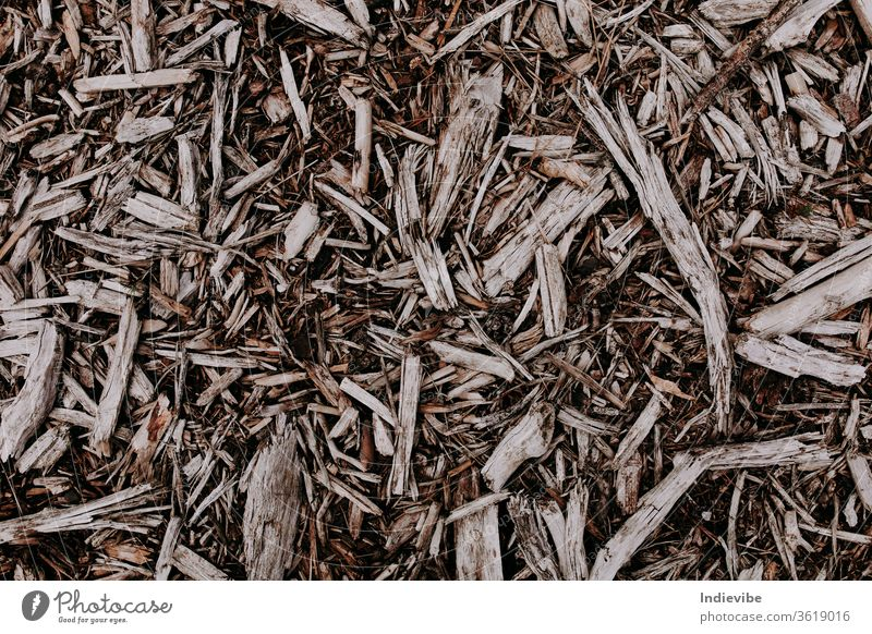 Wood chip pieces on the ground in different shapes and sizes wood texture dry brown nature dried plant black organic macro closeup natural mulch agriculture