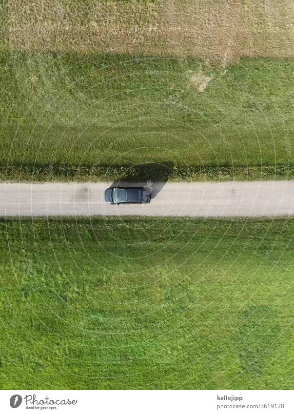 drive to the green off the beaten track droning Aerial photograph Motoring car Motor vehicle Meadow Lanes & trails Driving Bird's-eye view Field Agriculture Day