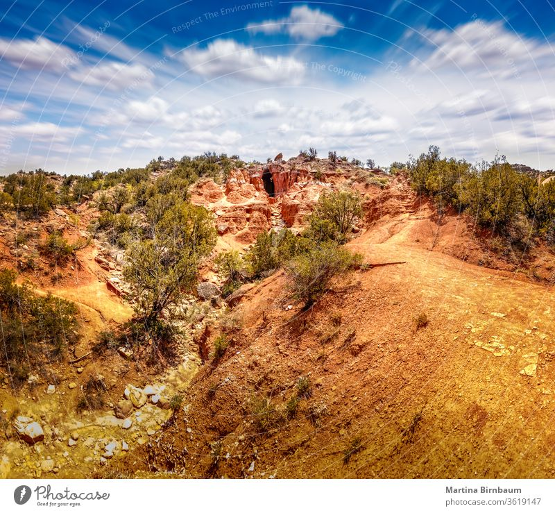 Panoramo of the cavern in the Palo Duro Canyon State Park, Texas palo duro canyon panorama panoramic texas nature landscape travel hill outdoor state park