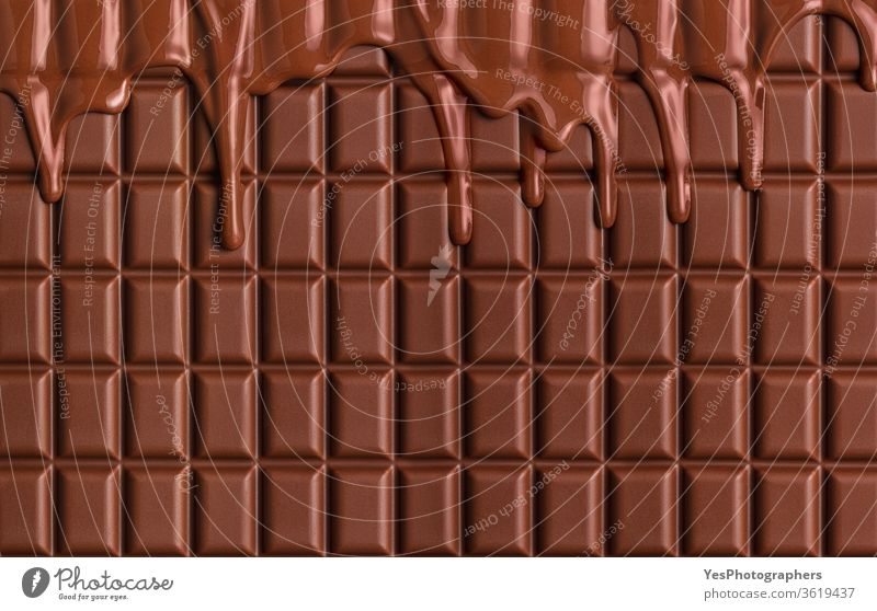 Milk chocolate bar background.  Melted chocolate dripping. Pastry ingredient baking big brown chocolate block christmas cocoa confectionery copy space cuisine