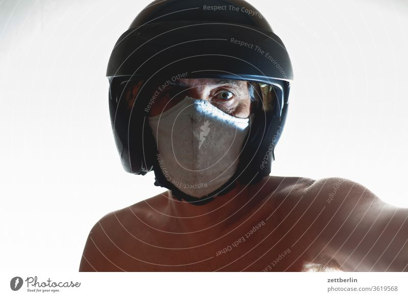 Safety with mask and helmet Suit Movement Motion blur spirit spectral Interior shot Man Mask masquerade Human being Room Copy Space Theatre cladding room Helmet