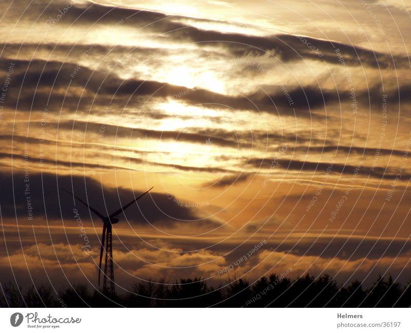 Wind and sun Sunset Clouds Dusk Wind energy plant Renewable energy