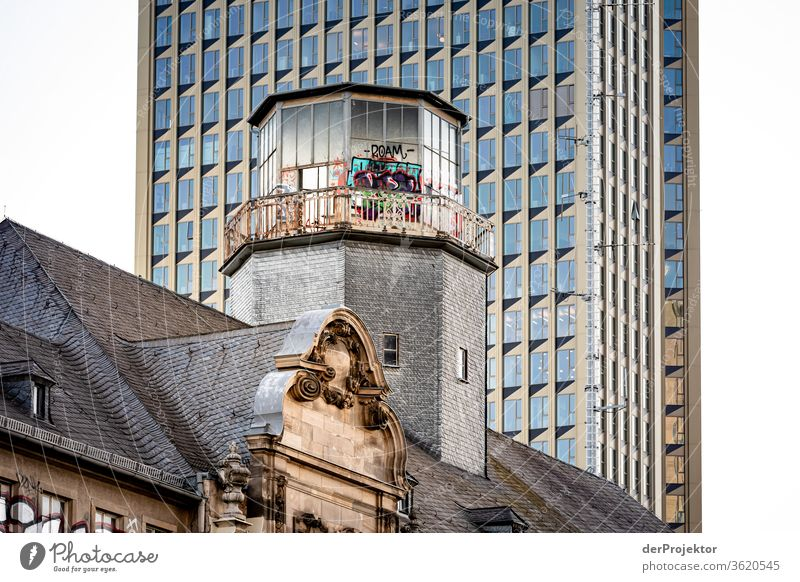 Architectural contrasts Station district of Frankfurt Architecture built Mirror Window Town Neutral Background mainhattan Exterior shot Copy Space top