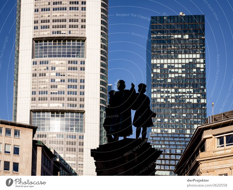 Fountain in the Frankfurt train station district Architecture built Mirror Window Town Neutral Background mainhattan Exterior shot Copy Space top Isolated Image
