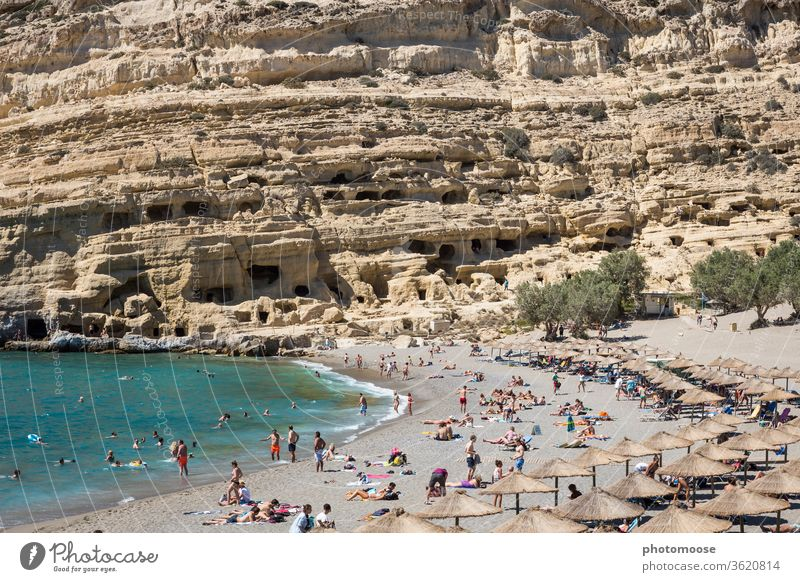 Beach and caves of Matala in Crete. The place became world famous in the course of the hippie movement. Hippie vacation Cave Cave residence Tourist Attraction