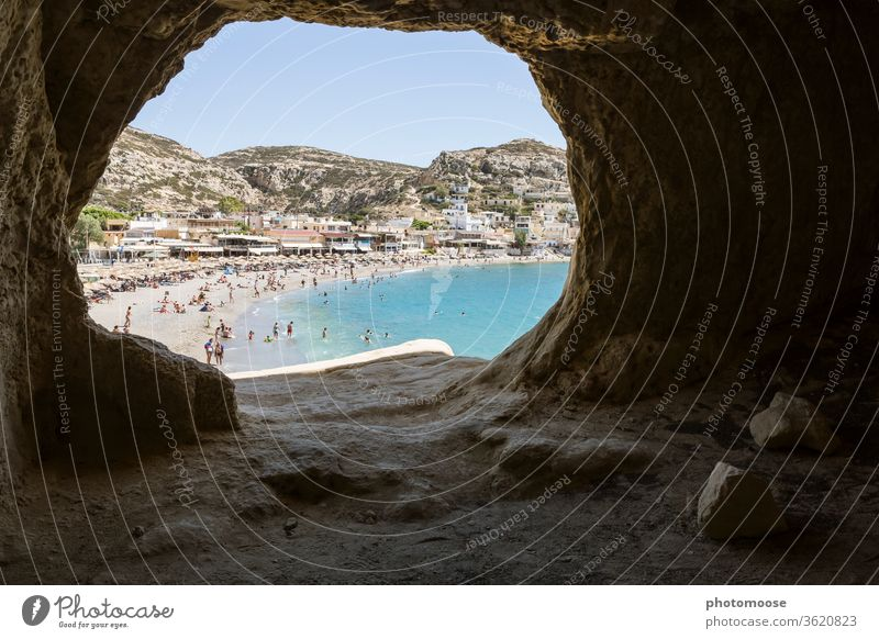 View from a former cave dwelling of the hippie movement in Matala, Crete. Vacation & Travel Greece Idyll Tourism Summer Summer vacation Card Ocean