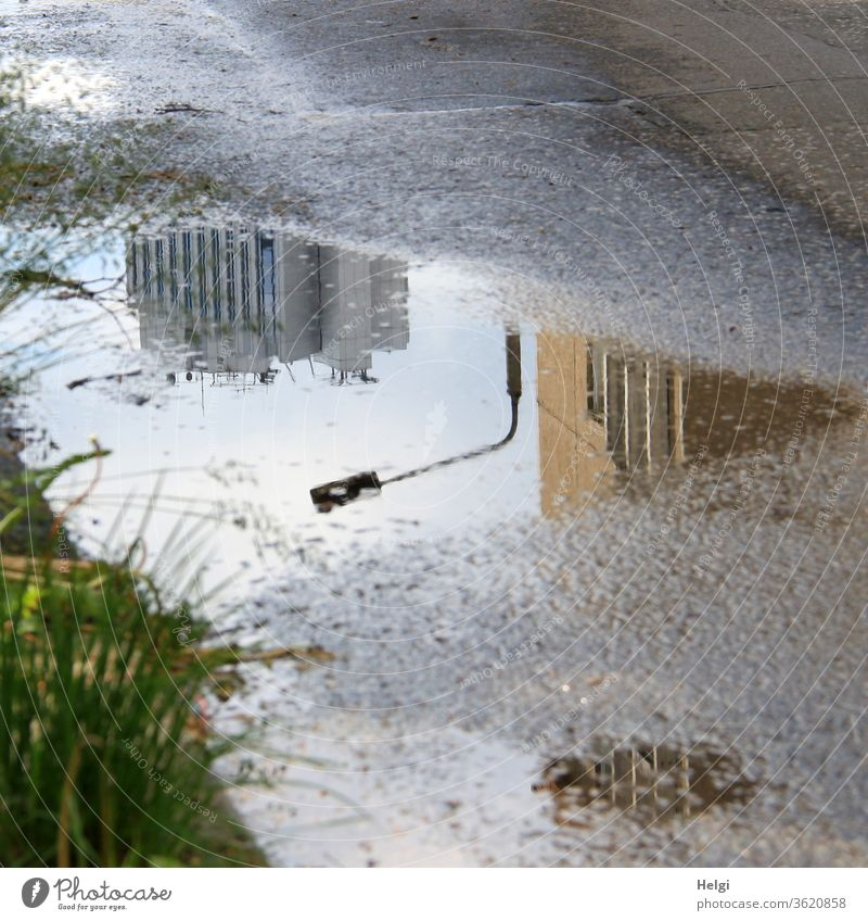 Reflection of buildings and a street lamp in a puddle on the asphalt Puddle reflection built High-rise Lantern streetlamp Asphalt Street Grass Sunlight Water