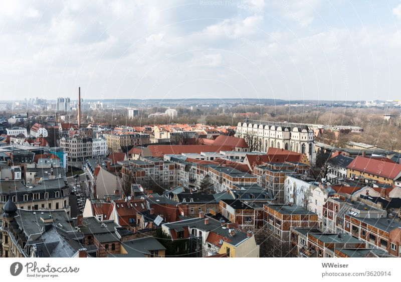 Halle an der Saale from above Town panorama Church Dome Cathedral of Halle Halle Neustadt Chimney Vantage point outlook Old town center Saxony-Anhalt City