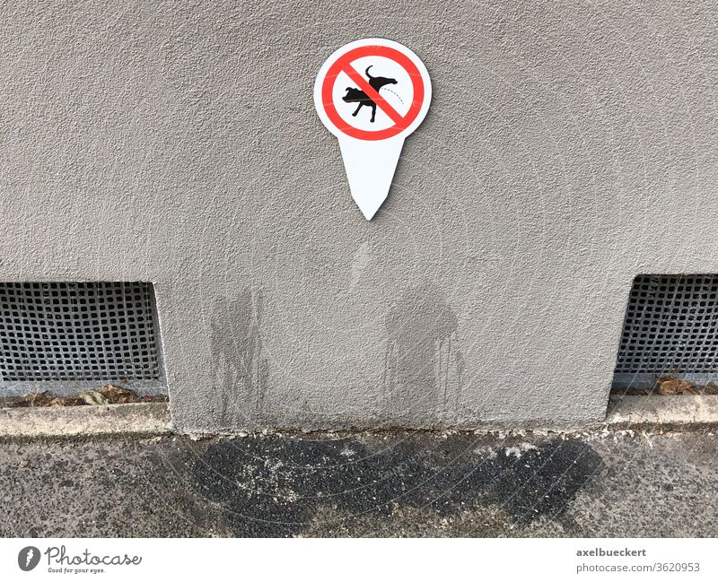Prohibition sign without effect - dogs pee on the house wall Dog forbidden Funny Wall (building) Sidewalk Patch Disobedient Signs and labeling Day Urinate