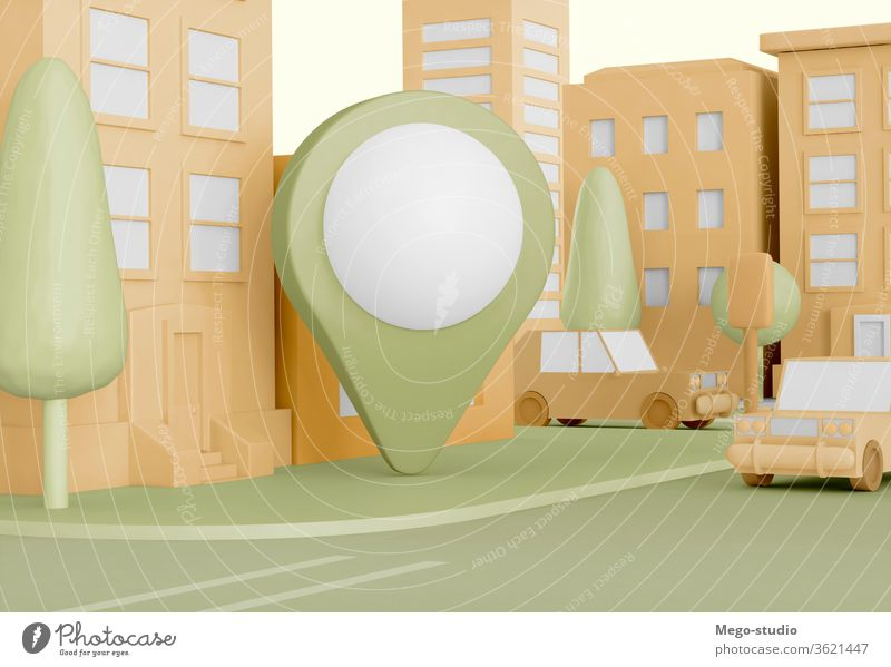 3D Illustration. Cartoon city with map pointer on street. 3d illustration location rendering address geolocation device information system element navigator tag