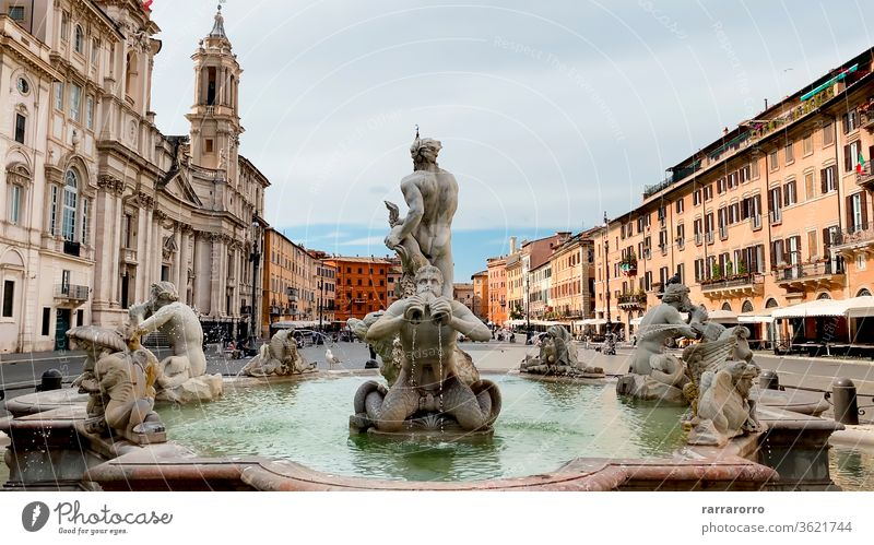 Fontana del Moro (Moor Fountain) is a fountain located in Piazza Navona in Rome. It represents a Moor standing in a conch shell, wrestling with a dolphin, surrounded by four Tritons.