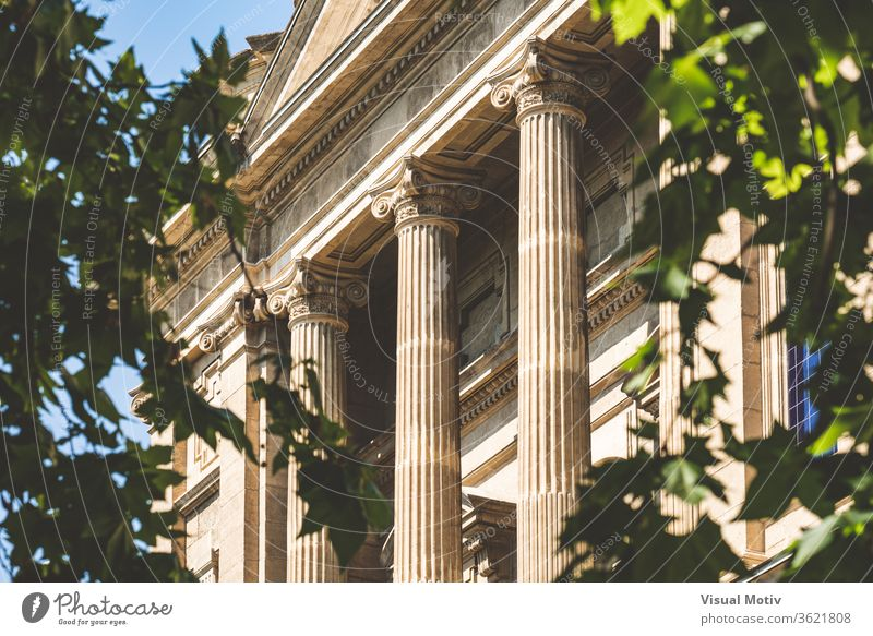Ionic columns facade of the National Art Museum of Catalonia in Barcelona aka MNAC, surrounded by tree leaves building ornament historic old statue sunny