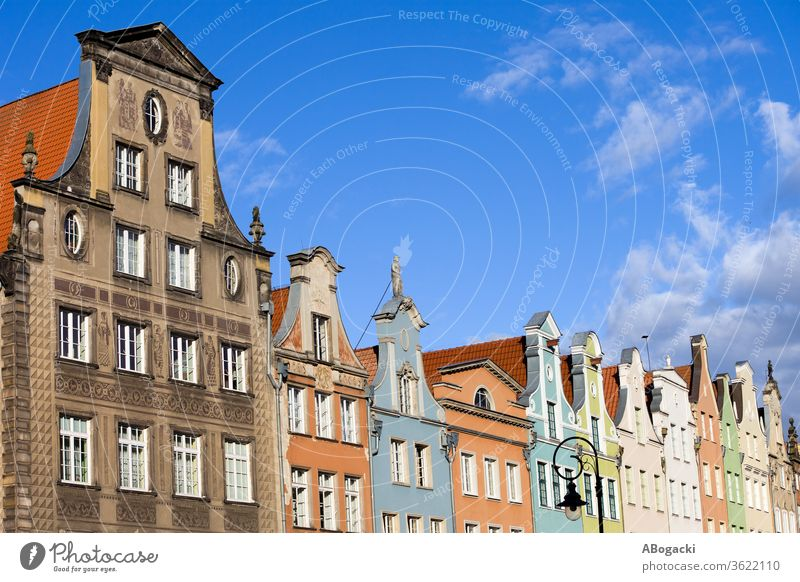 Row of tenement buildings, historic apartment houses with gables in city of Gdansk in Poland gdansk danzig culture heritage poland polish europe architecture