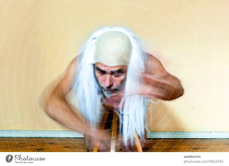 Senior Theatre Suit Movement Motion blur spirit spectral Interior shot Man Mask masquerade Human being Room Copy Space cladding room Magician Gandalf superman