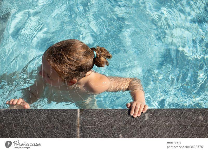 swimming in the pool bathing season Beginning Swimming pool swimming pools girl Stand feet . feet Dress Blue Sky blue bathe chill Holiday season warm