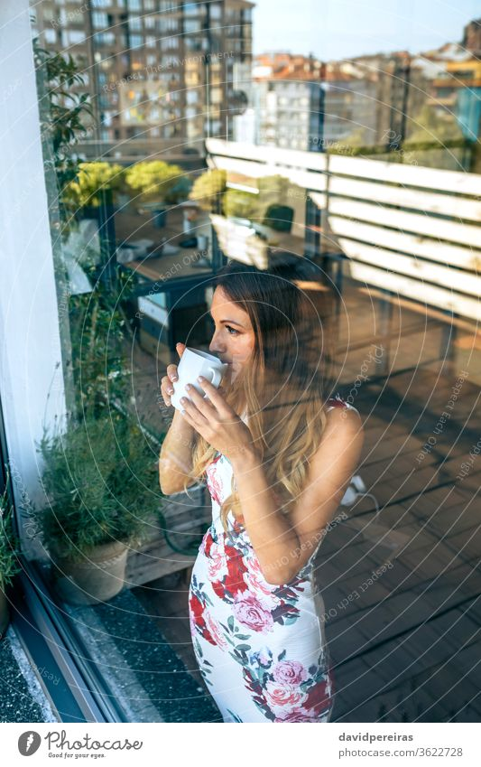 Woman drinking coffee while watching the views woman looking through the glass window beverage break reflection tea elegant female resting pause cup young