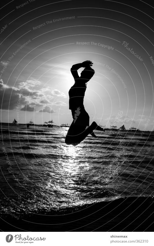 Jump Young woman Youth (Young adults) 1 Human being 18 - 30 years Adults Nature Landscape Water Sky Clouds Horizon Summer Beautiful weather Ocean Island