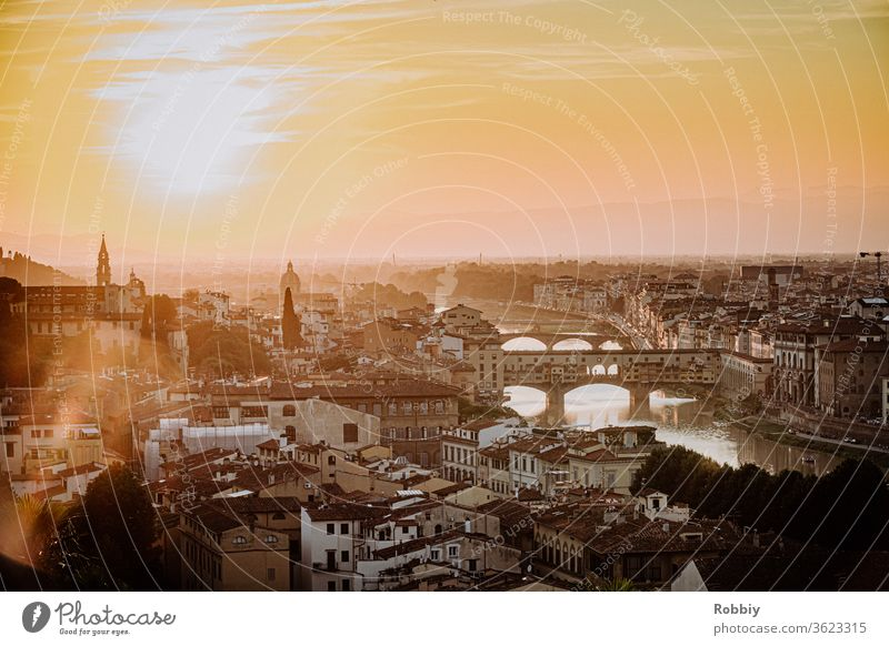View from Piazzale Michelangelo to skyline of Florence and Ponte Vecchio at sunset Italy Arno Tuscany Sunset Skyline Architecture Town vacation Southern Europe