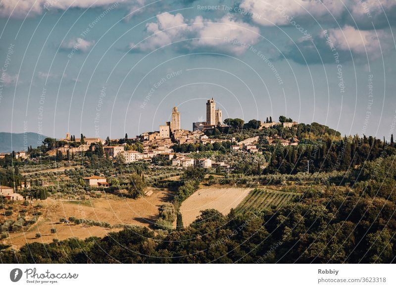 View of the town of San Gimignano in Tuscany Italy Siena vacation Town Village Southern Europe Tourism Landscape Hill town Torre Grossa