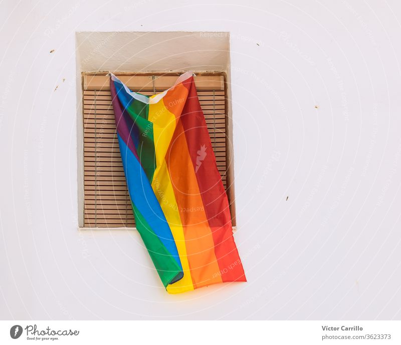 lgtbi pride flag on a balcony colorful flight city human rights air lgbt movement high signs modern nobody celebrate travesty waving outdoors flying bisexual