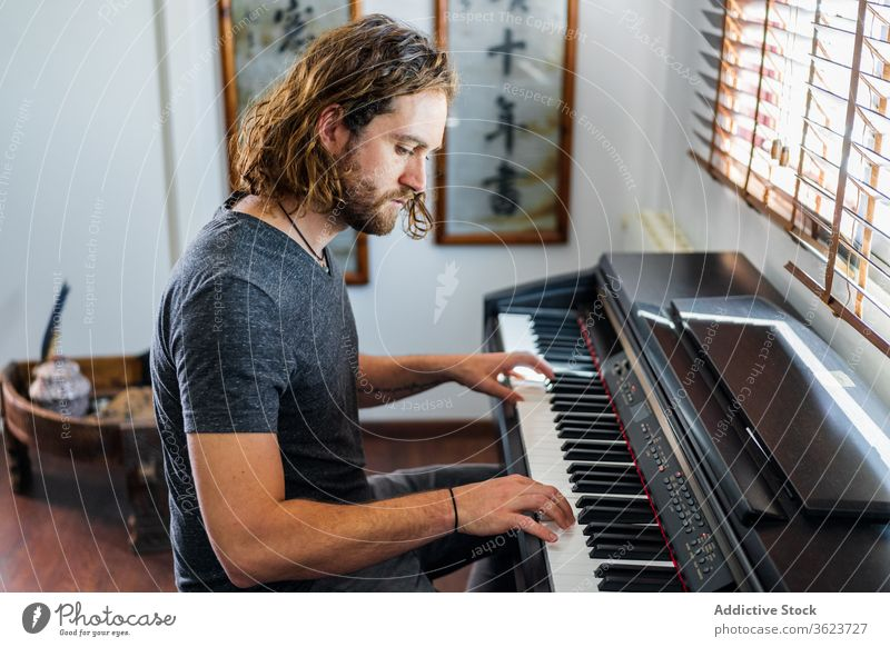 Talented man playing piano at home synthesizer musician instrument electronic talent male skill apartment cozy sit melody sound style entertain modern song guy