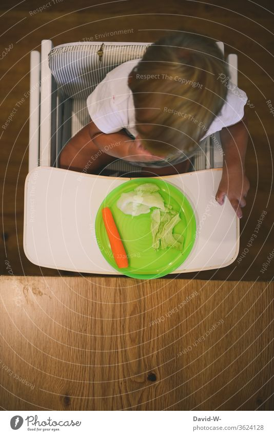 Child set on a diet - Healthy nutrition Toddler Boy (child) no hunger Full strike Strike Pighead Vegetable Lettuce Side dish Carrot Healthy Eating