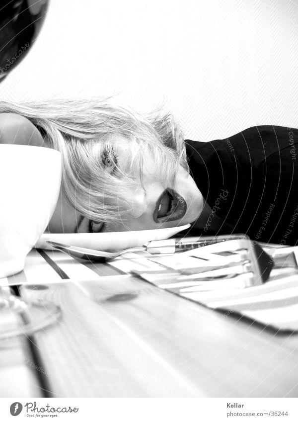 Food culture 2 Disgust Kitchen Human being Nutrition Poison Death Facial expression Blonde Whimsical Long-haired Dinner table Fork Black & white photo