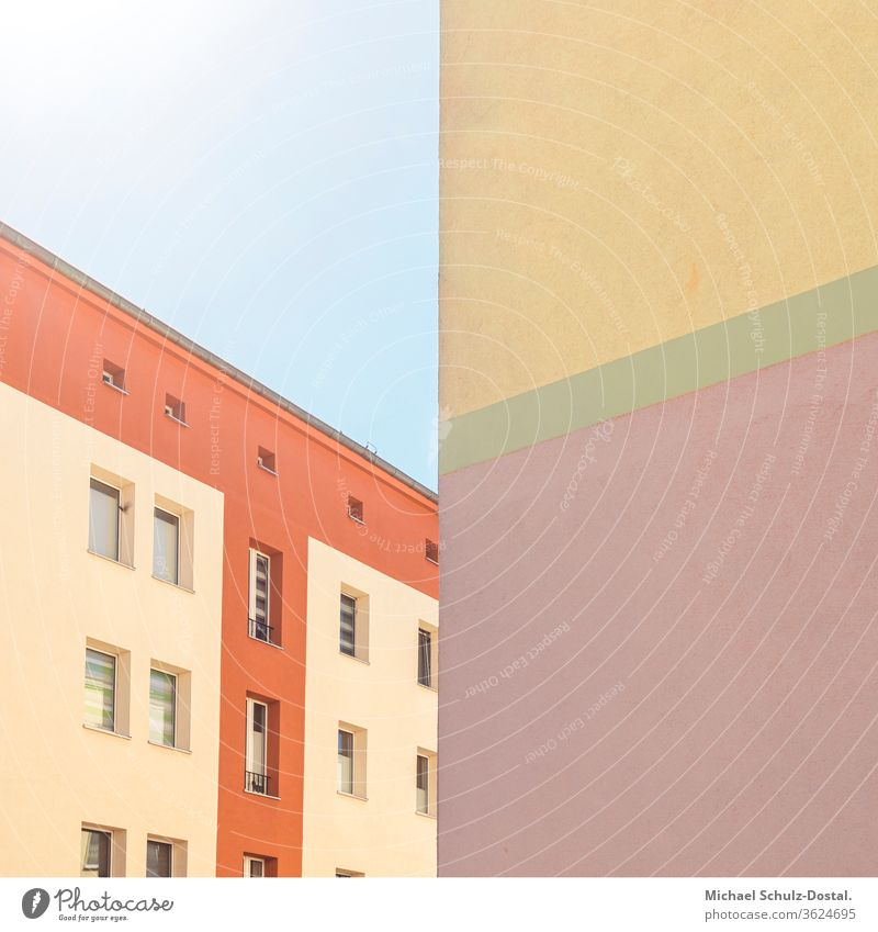 exciting colour play of the buildings minimal graphically colors shape Geometry abstract Abstract Colour Square harmony Architecture Facade Line Window Roof