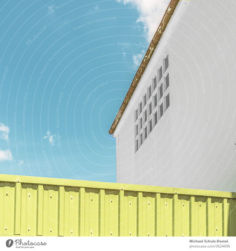 Building symmetry not available minimal graphically colors shape Geometry abstract Abstract Colour Square harmony Attica Architecture detail green Sky Roof