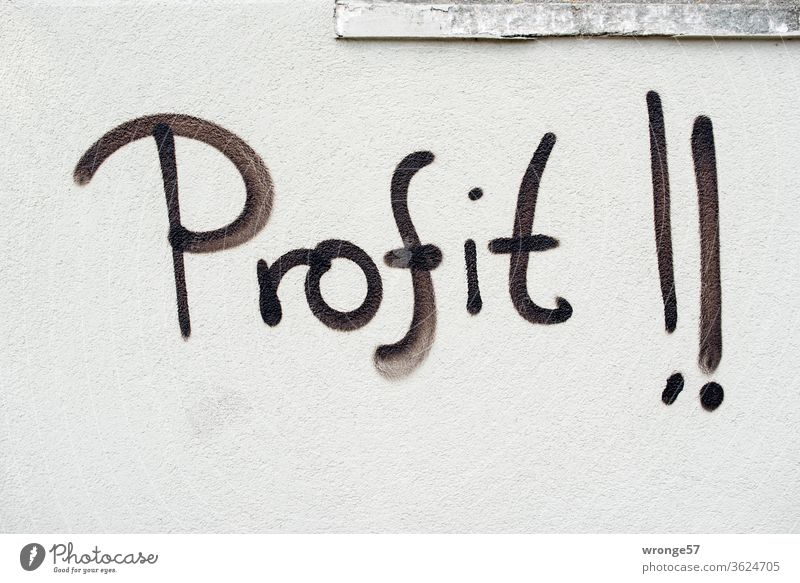 Graffito| the word profit !! sprayed with black paint on a light grey wall Word black color Spray Wall (building) Wall (barrier) upper-case letters Graffiti