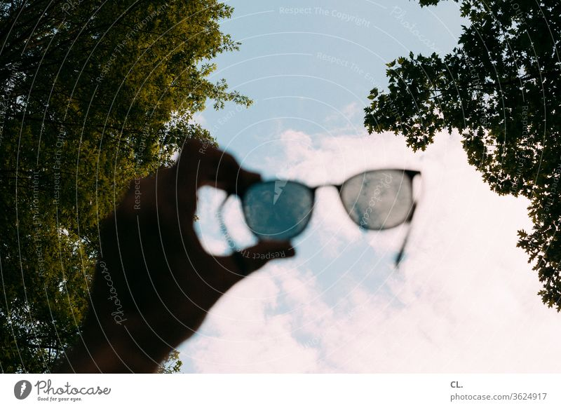 sunglasses Sunglasses Summer Sky Park Beautiful weather Clouds by hand tree Leisure and hobbies Relaxation Freedom Nature Trip Vista Colour photo Exterior shot