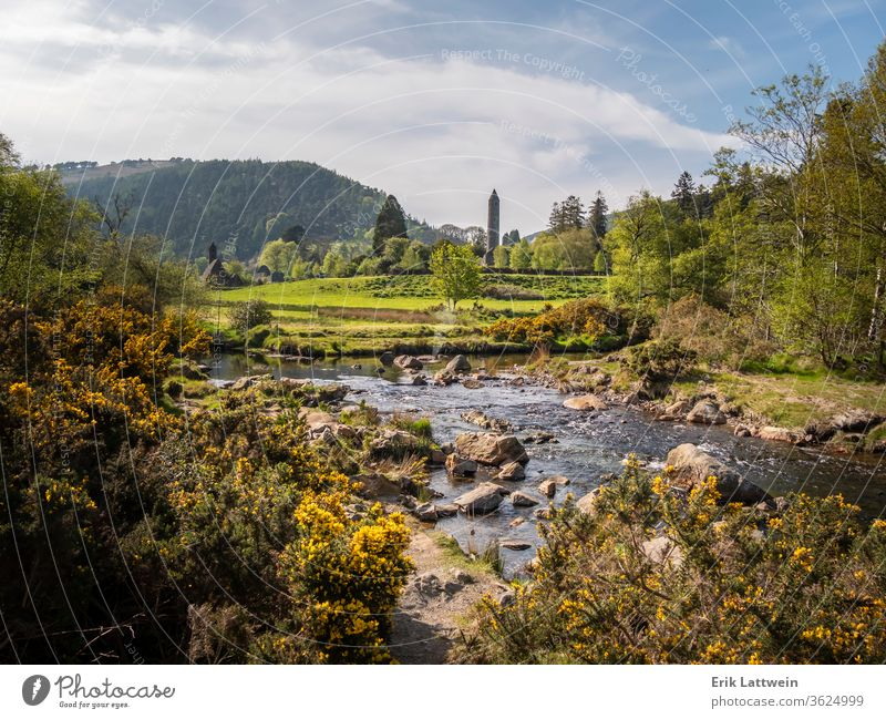 Small creek art Glendalough in the Wicklow Mountains Ireland forest landscape tourism travel wicklow nature outdoor sky ancient church monastery monastic lake