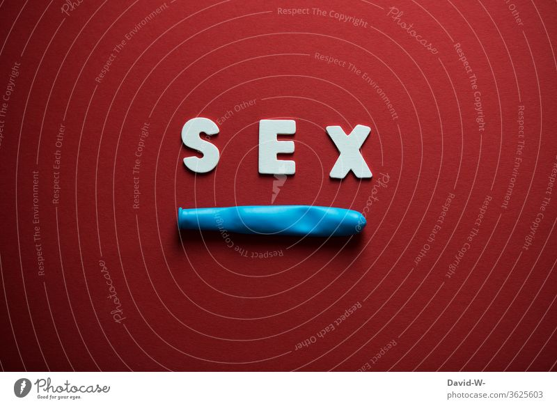 Sex - word with balloon - representation Condom prevention avert Sexual intercourse Balloon the air is out Word visualization Funny Blue Red Neutral
