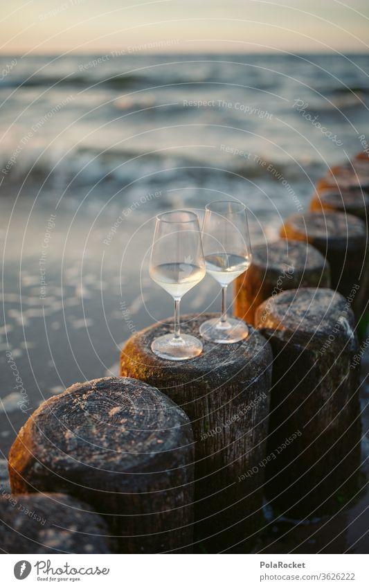#A# Baltic Sea Romance II Evening Baltic coast Destination Trip Wine glass Vine romantic Colour photo Water Landscape Mecklenburg-Western Pomerania Sky Sand