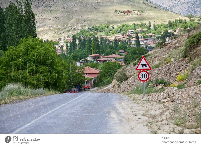 Somewhere in nowhere | highway leading to the village of Derebag in deepest Anatolia, Turkey. turkey Valley mountains Village Landscape Country road Sparse
