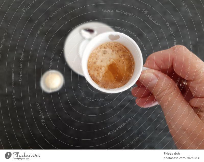 espresso pleasure Espresso Coffee Cup Hot enjoyment Subdued colour Bird's-eye view by hand crema Break Cozy