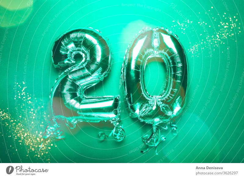 Silver Number Balloon 20 balloon two twenty number silver new year anniversary birthday followers likes date january decoration glitter shiny green mint