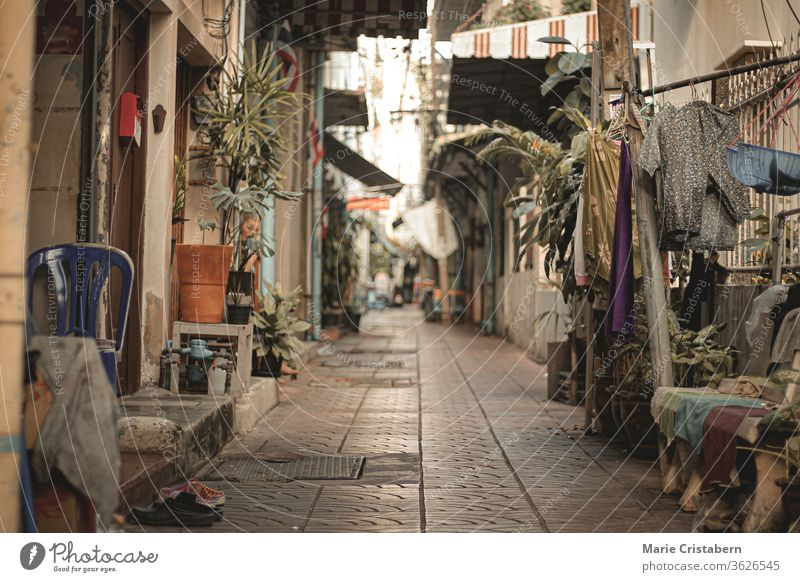Empty deserted alleyways of Chinatown (Yaowarat Road) in Bangkok, Thailand during the lock down and home quarantine due to the covid-19 pandemic showing the new normal life